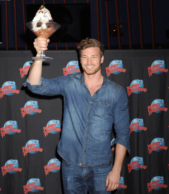 Actor Derek Theler, star of ABC FamilyÕsÊBaby Daddy, hosts a Meet & Greet with fans at Planet Hollywood Times Square in NYC.  Derek is currently in town promoting the Christmas episode of his show, set to airÊon December 10th.