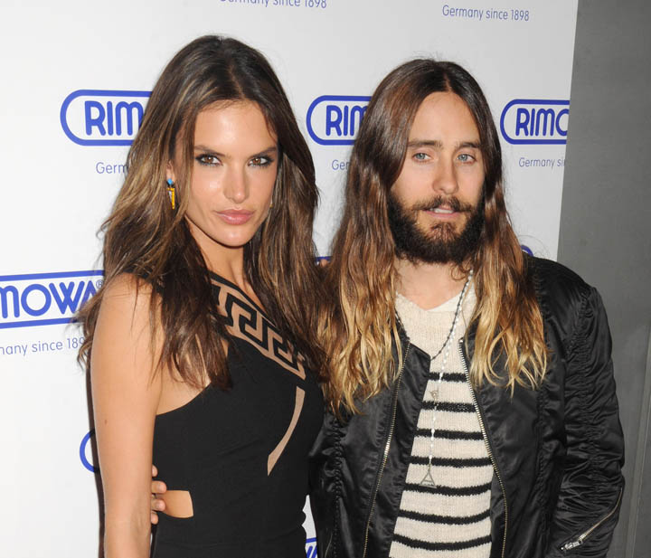 Alessandria Ambrosio and Jared Leto arrive for RIMOWA NYC store opening party on Madison Avenue in NYC